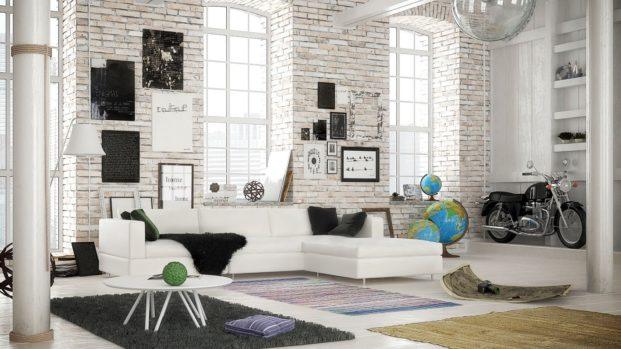Лофт белый кирпич стильный вид