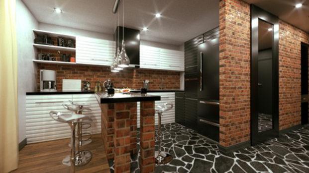 Современная лофт кухня кирпич